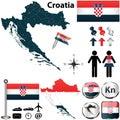 Map of Croatia Royalty Free Stock Photo