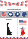 Map of Delaware. Set of flat design icons nfographics elements w