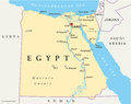 Map of egypt with national borders cities rivers and lakes Royalty Free Stock Image