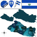 Map of El Salvador with named departments Royalty Free Stock Photo