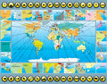 Map Elements with World Map Royalty Free Stock Images