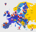 Map of eu with icons vector illustration Royalty Free Stock Images