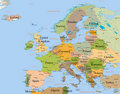 Map Europe - detailed Royalty Free Stock Photo