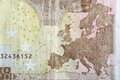 Map of Europe on the reverse of an Euro banknote. Royalty Free Stock Photo