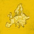 Map Europe Vintage Yellow