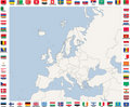 Map of European Countries in blue and grey tones Royalty Free Stock Images