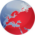 Map of Eurpe on globe  illustration Royalty Free Stock Photo