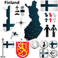 Map of finland with regions vector set country shape flags and icons isolated on white background Stock Photos