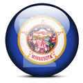Map on flag button of USA Minnesota State Royalty Free Stock Photo