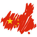 Map flag China (vector) Royalty Free Stock Photos