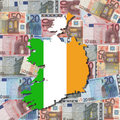 Map and flag of Ireland Stock Photos