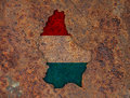Map and flag of Luxembourg on rusty metal