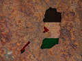Map and flag of Palestine on rusty metal