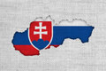 Map and flag of Slovakia on old linen