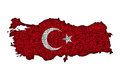 Map and flag of Turkey on poppy seeds
