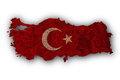 Map and flag of Turkey on rusty metal