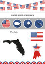 Map of Florida. Set of flat design icons nfographics elements wi