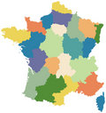 Map of France divided into regions Royalty Free Stock Photo