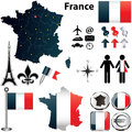 Map of france with regions vector set country shape flags and icons isolated on white background Stock Images