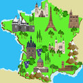 Map of france vector tourist Stock Images