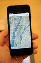 Map function in iPhone 5 Stock Image