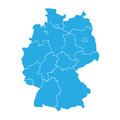 Map of Germany devided to 13 federal states and 3 city-states - Berlin, Bremen and Hamburg. Simple flat blank blue