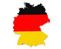 Map germany germany flag colors white background Royalty Free Stock Image