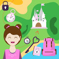 Map with a girl, backpack and other items. of passage to the castle. Child Game. Help the get here before the place. Vector