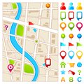 Map with GPS pointer Royalty Free Stock Photography