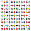 Map gray marker with flags big set paper Royalty Free Stock Photo