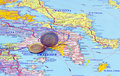 Map of Greece and euro coins Stock Photos