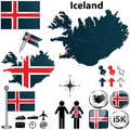 Map of iceland vector set with detailed country shape with region borders flags and icons Stock Photography