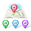 Map icon with pointer color variations Royalty Free Stock Photography