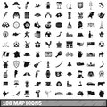 100 map icons set, simple style