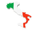 Map of italy in italy flag colors on a white background Stock Photos
