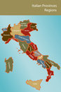 Map of Italy with provinces and regions Stock Photo