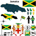 Map of jamaica vector set with detailed country shape with region borders flags and icons Royalty Free Stock Image