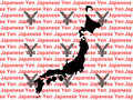 Map of Japan and currency Stock Photography