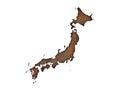 Map of Japan on rusty metal