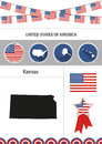 Map of Kansas. Set of flat design icons nfographics elements wit
