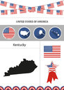 Map of Kentucky. Set of flat design icons nfographics elements w