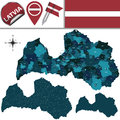 Map of latvia with named divisions vector and travel icons valid since st july Stock Photography