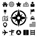 Map and location icons set illustration eps Royalty Free Stock Photo