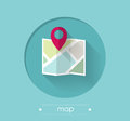 Map with location pin flat design illustration Royalty Free Stock Image