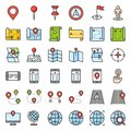 Map, location, pin and navigation vector filled outline icon