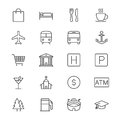 Map and location thin icons simple clear sharp easy to resize Royalty Free Stock Images