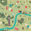 Map of london with landmarks cartoon illustration a street central the river thames and historical tourists sightseeing in Stock Image