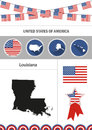Map of Louisiana. Set of flat design icons nfographics elements