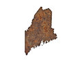 Map of Maine on rusty metal