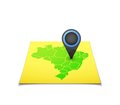 Map with a marker on brazil vector background illustration Stock Image